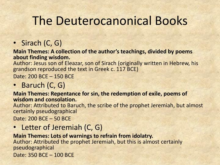 The Deuterocanonical Books
