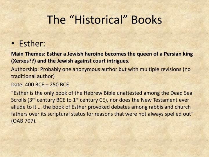"The ""Historical"" Books"