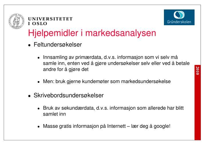 Hjelpemidler i markedsanalysen