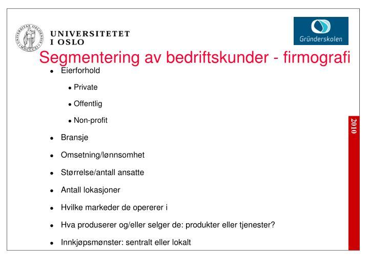 Segmentering av bedriftskunder - firmografi