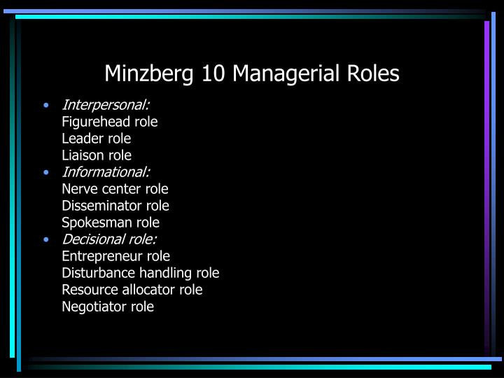 Minzberg 10 Managerial Roles