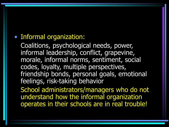 Informal organization: