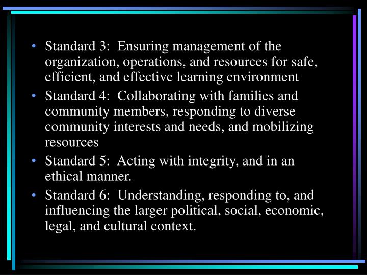Standard 3:  Ensuring management of the organization, operations, and resources for safe, efficient, and effective learning environment