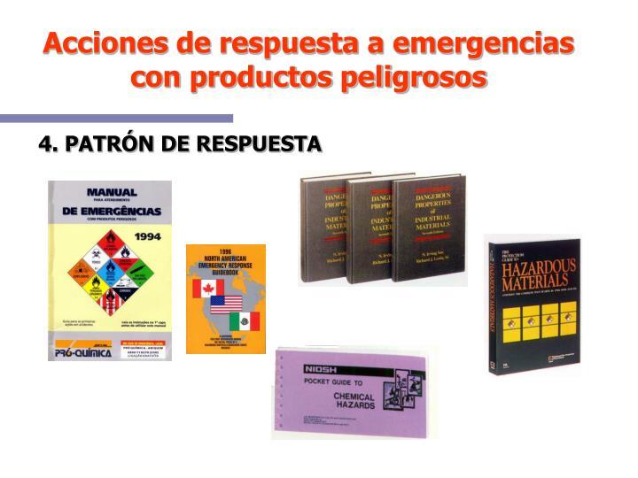 Acciones de respuesta a emergencias con productos peligrosos