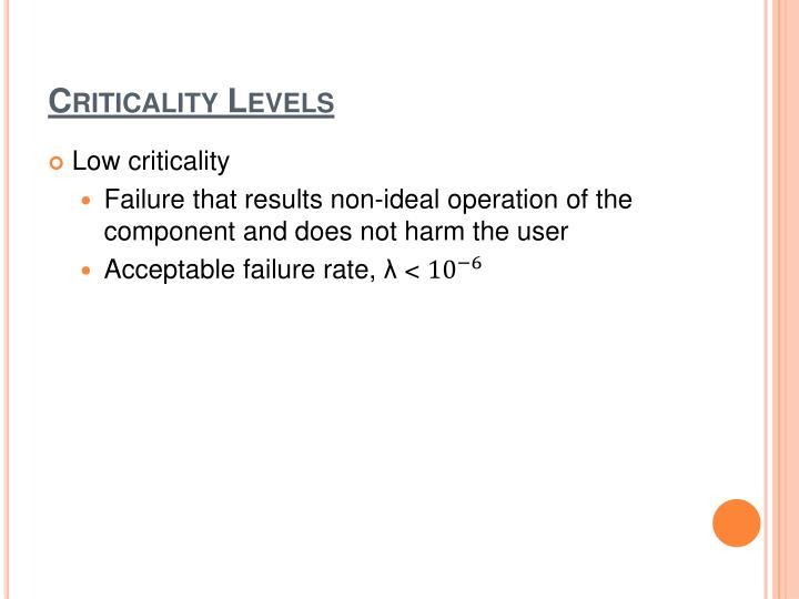 Criticality Levels