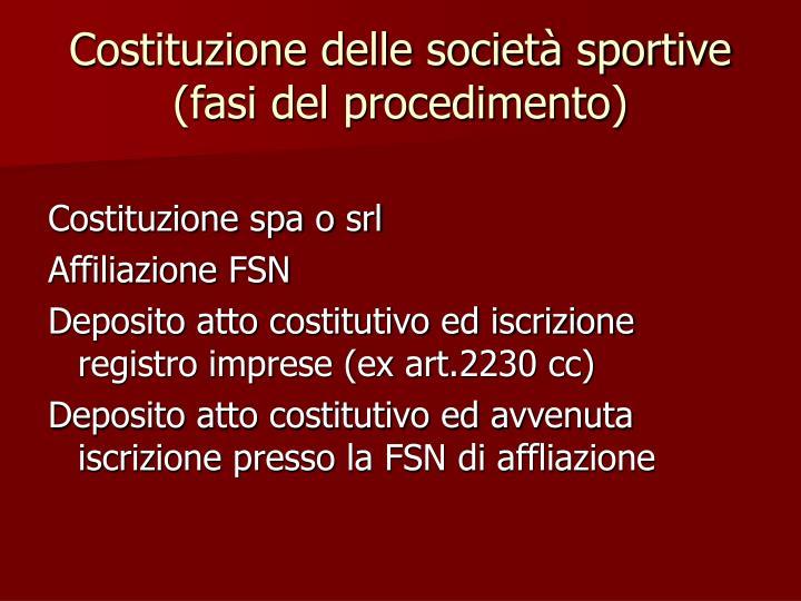 Costituzione delle società sportive