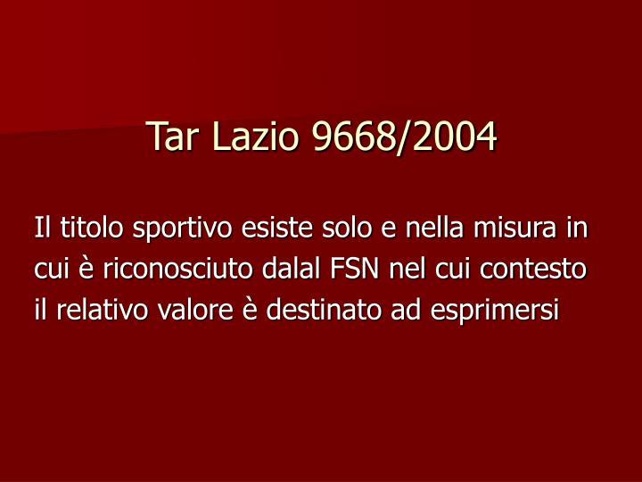 Tar Lazio 9668/2004