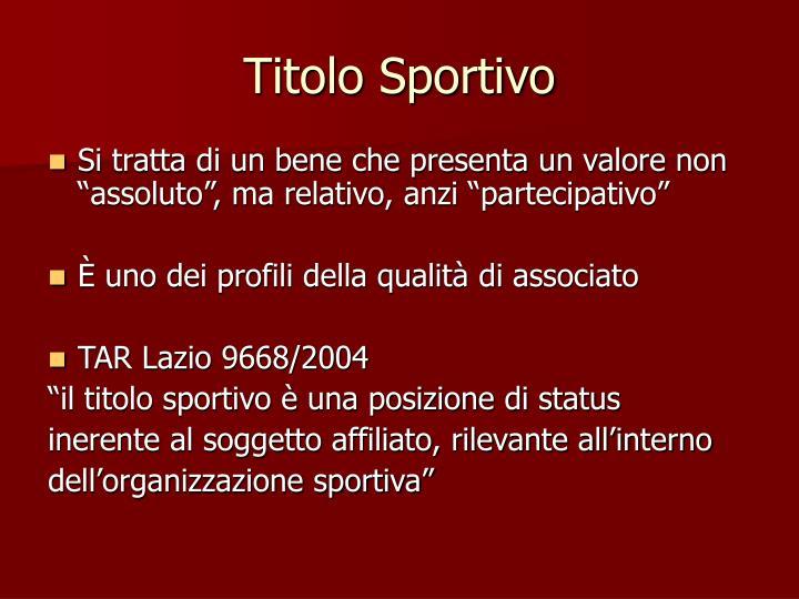 Titolo Sportivo