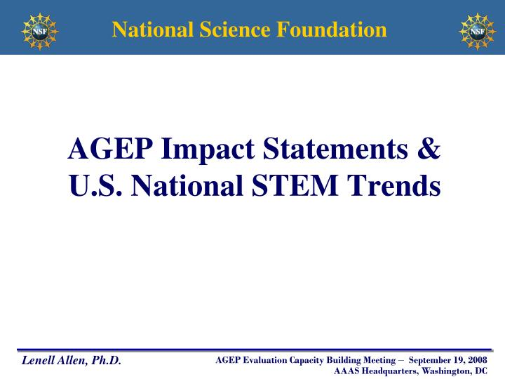 AGEP Impact Statements &
