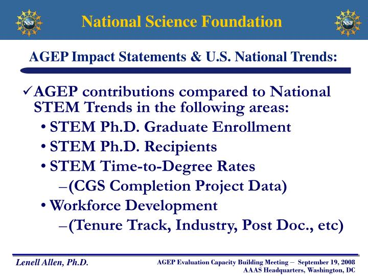 AGEP Impact Statements & U.S. National Trends: