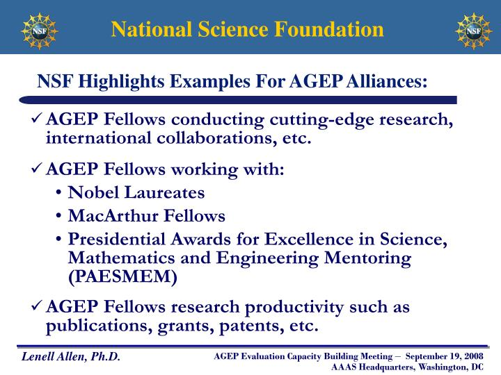 NSF Highlights Examples For AGEP Alliances: