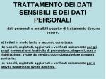 trattamento dei dati sensibili e dei dati personali