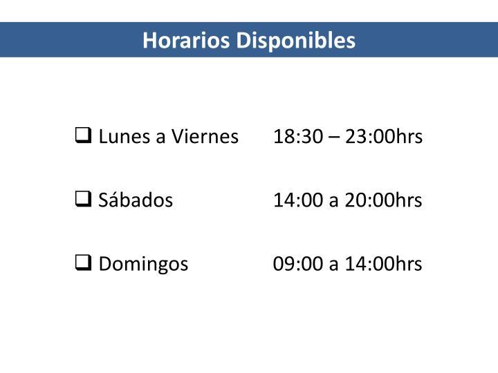 Horarios Disponibles