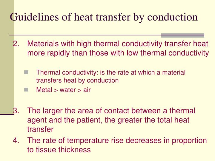 Guidelines of heat transfer by conduction
