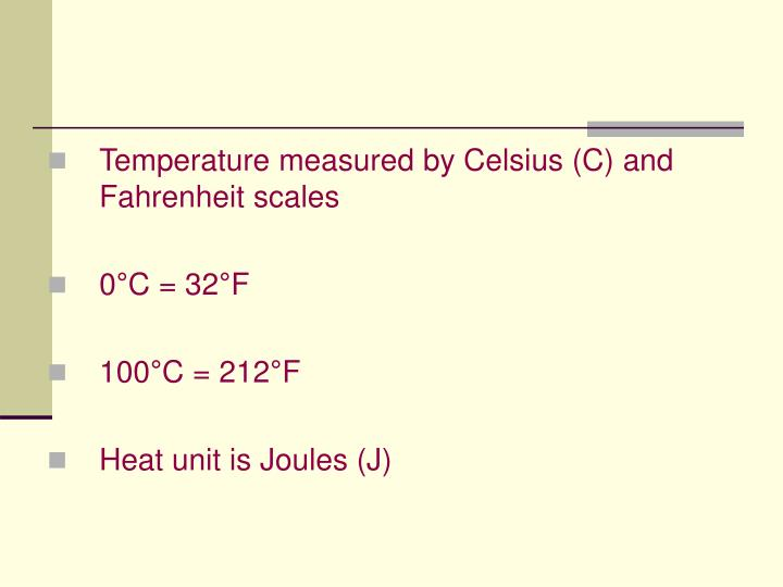 Temperature measured by Celsius (C) and Fahrenheit scales