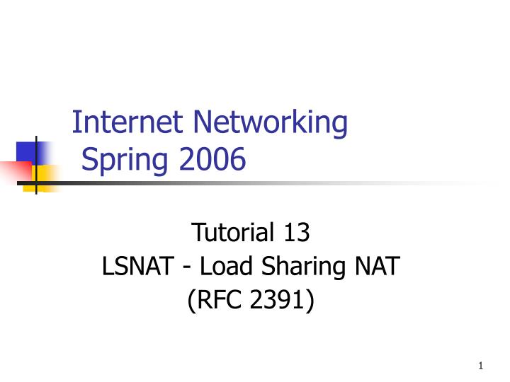 Internet networking spring 2006