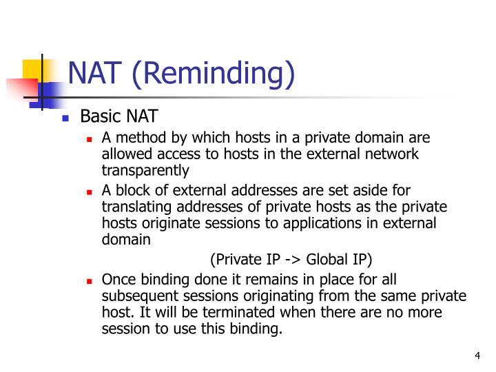 NAT (Reminding)