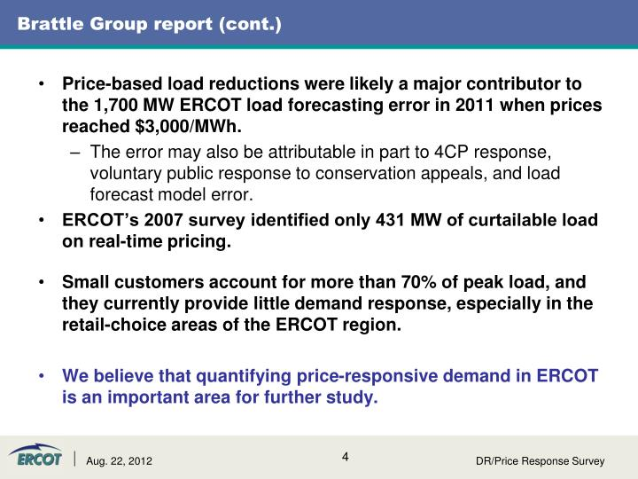 Brattle Group report (cont.)