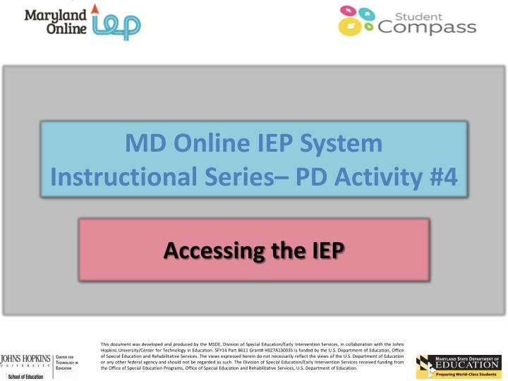 Md online iep system instructional series pd activity 4