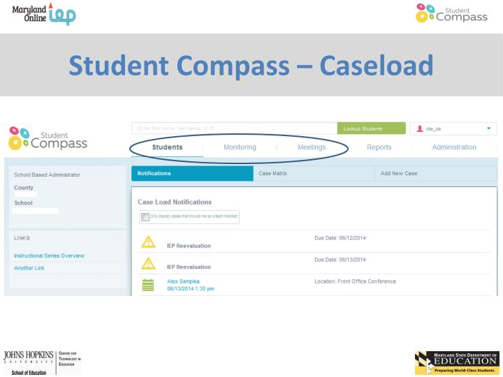 Student compass caseload