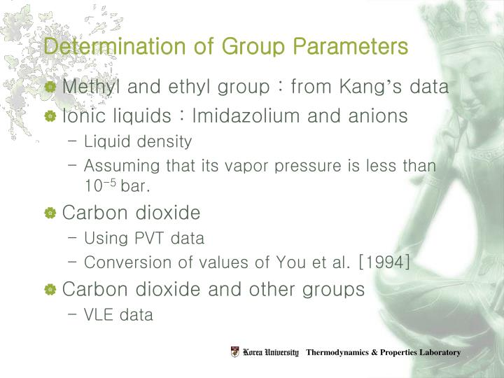 Determination of Group Parameters