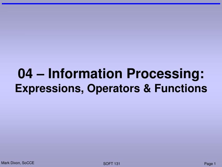 04 information processing expressions operators functions