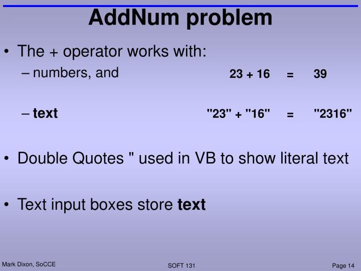 AddNum problem