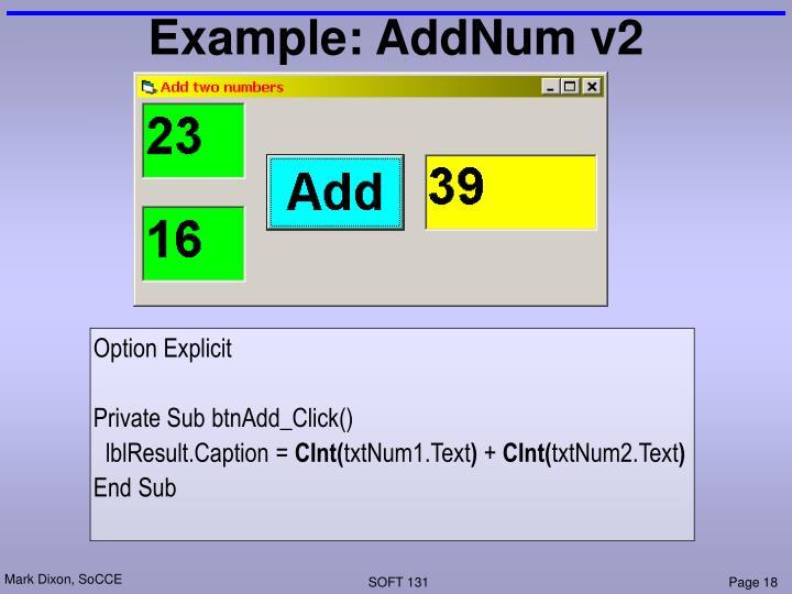 Example: AddNum v2