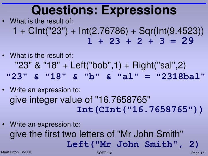 Questions: Expressions