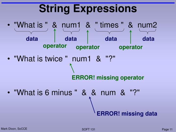 String Expressions