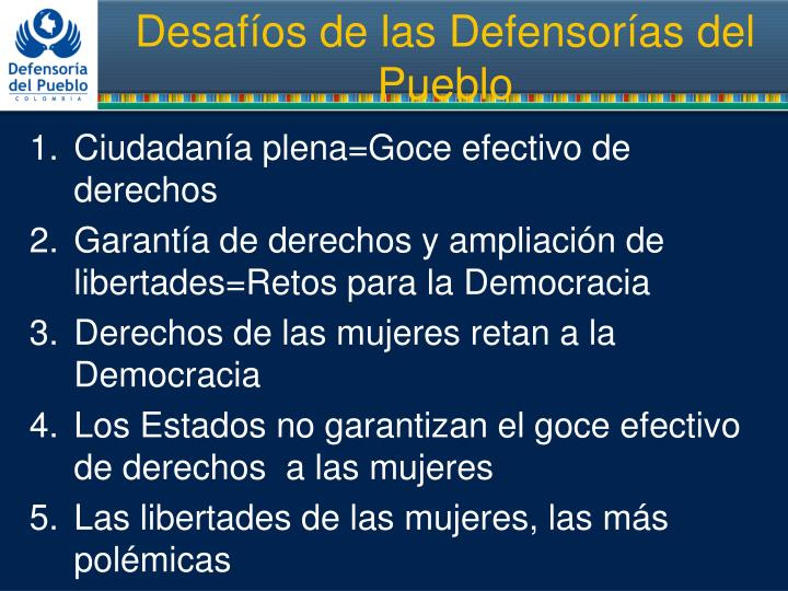 Desaf os de las defensor as del pueblo