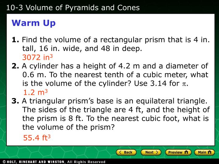 10-3 Volume of Pyramids and Cones