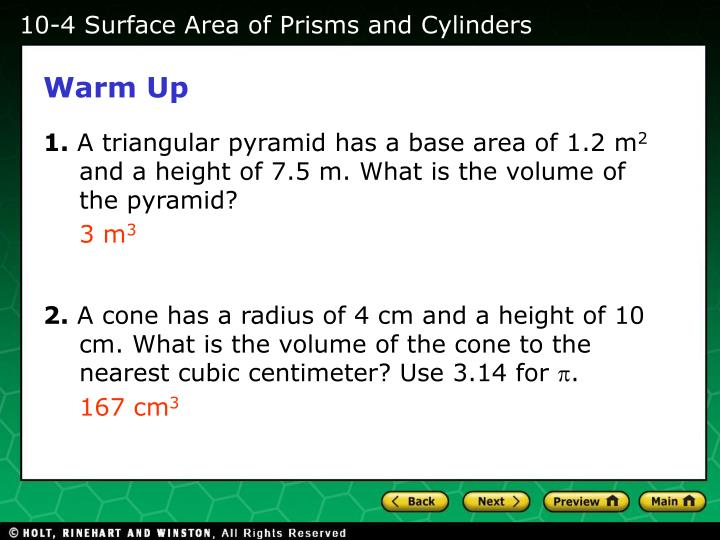 10-4 Surface Area of Prisms and Cylinders