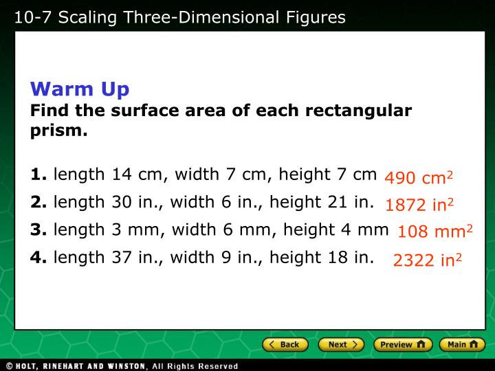 10-7 Scaling Three-Dimensional Figures