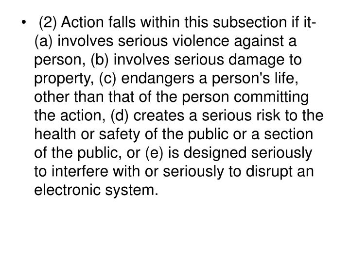 (2) Action falls within this subsection if it- (a) involves serious violence against a person, (b) involves serious damage to property, (c) endangers a person's life, other than that of the person committing the action, (d) creates a serious risk to the health or safety of the public or a section of the public, or (e) is designed seriously to interfere with or seriously to disrupt an electronic system.