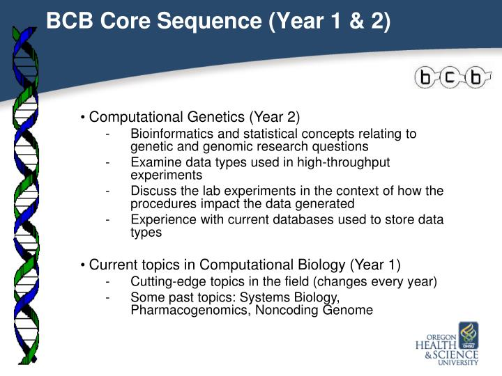 BCB Core Sequence (Year 1 & 2)