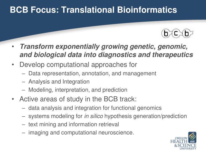 BCB Focus: Translational Bioinformatics