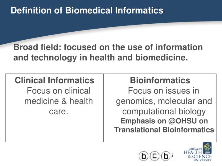 Definition of Biomedical Informatics