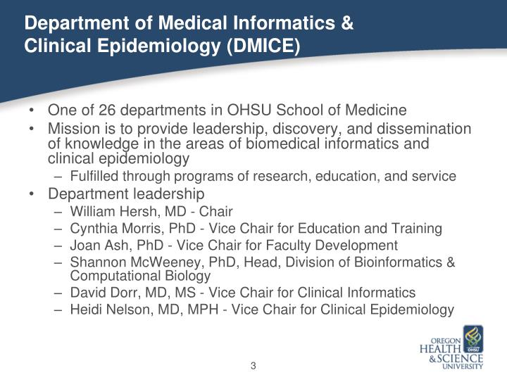 Department of medical informatics clinical epidemiology dmice