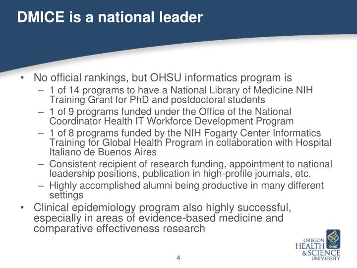 DMICE is a national leader