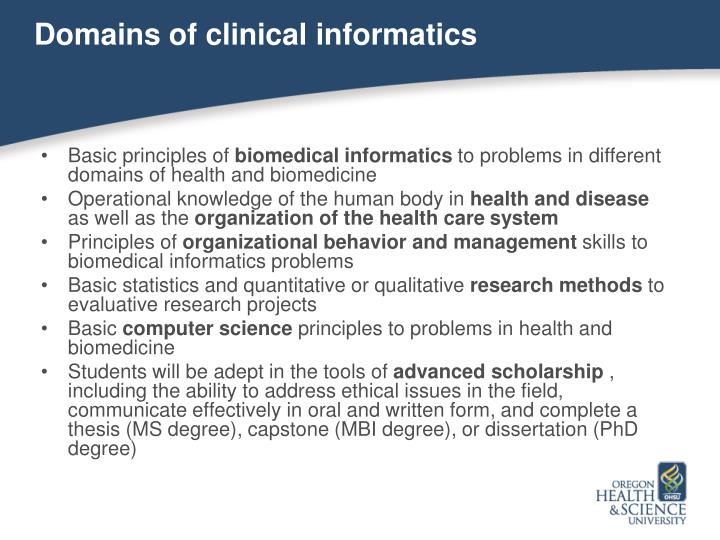 Domains of clinical informatics