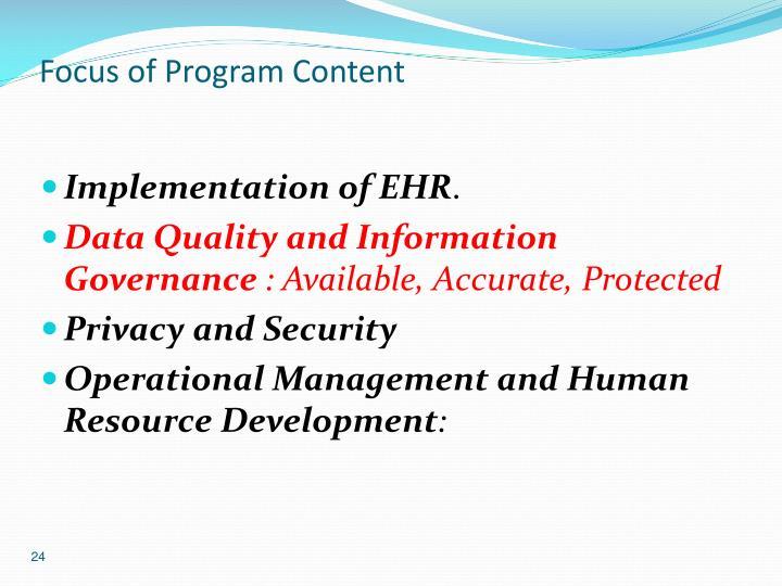 Focus of Program Content