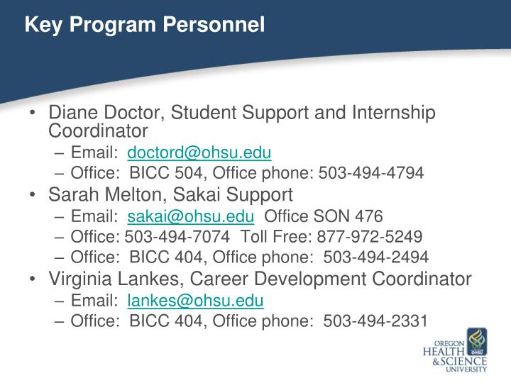 Key Program Personnel
