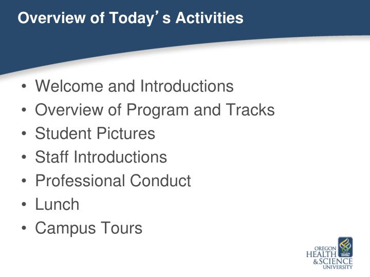 Overview of today s activities