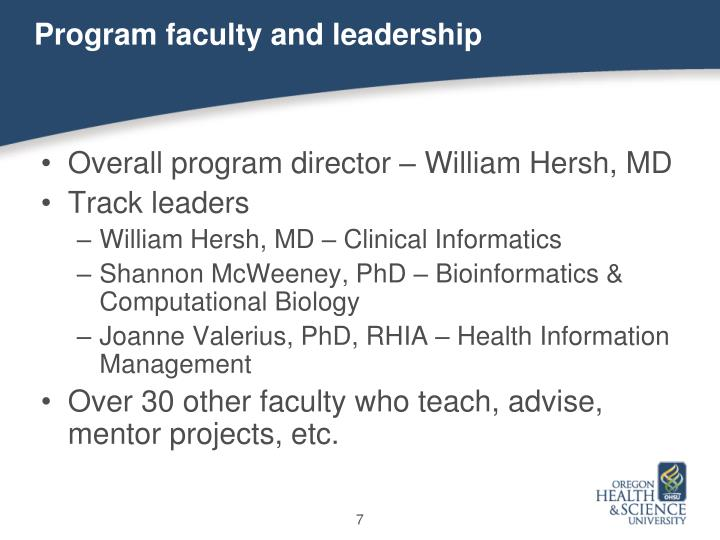 Program faculty and leadership