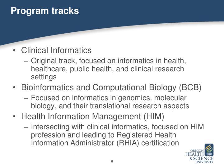 Program tracks