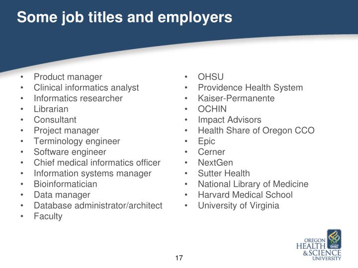 Some job titles and employers