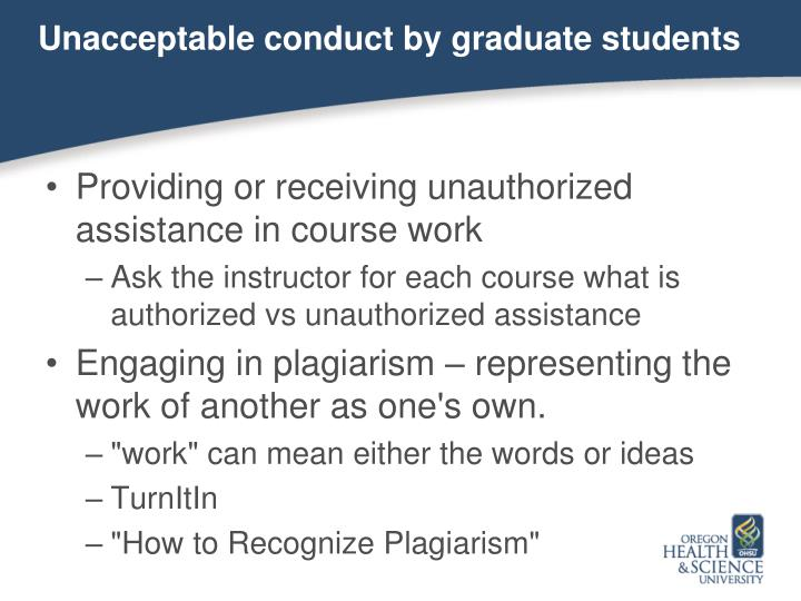 Unacceptable conduct by graduate students