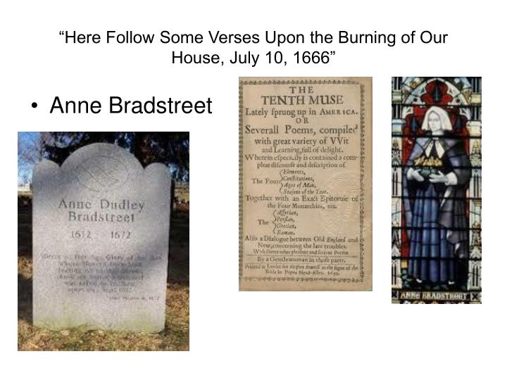 """Here Follow Some Verses Upon the Burning of Our House, July 10, 1666"""