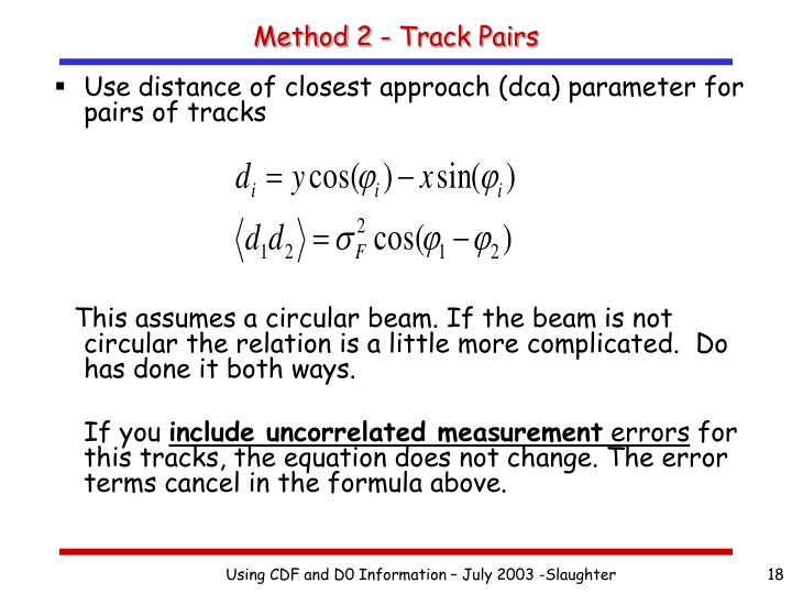 Method 2 - Track Pairs